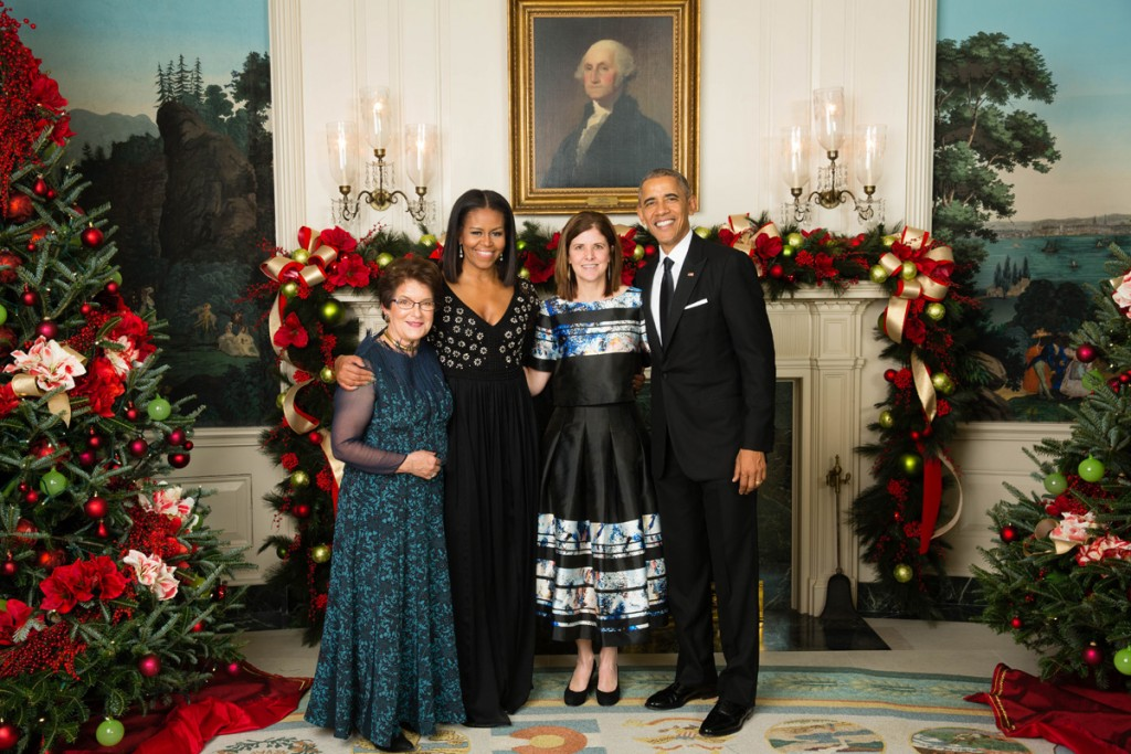 President Barack Obama and First Lady Michelle Obama greet Sen. Merkley's family, Mary Sortenberg and Judith Fairdig in the Diplomatic Reception Room during the Congressional Ball at the White House, Dec. 7, 2016. (Official White House Photo by Chuck Kennedy) This photograph is provided by THE WHITE HOUSE as a courtesy and may be printed by the subject(s) in the photograph for personal use only. The photograph may not be manipulated in any way and may not otherwise be reproduced, disseminated or broadcast, without the written permission of the White House Photo Office. This photograph may not be used in any commercial or political materials, advertisements, emails, products, promotions that in any way suggests approval or endorsement of the President, the First Family, or the White House.
