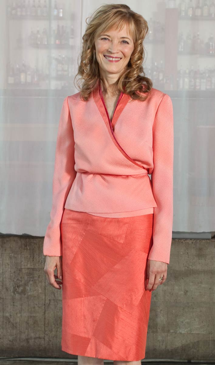Wrap Jacket with Pieced Skirt—Painted kimono silk double collared jacket shown with a straight skirt sewn from pieced silk dupioni. | Ann Williamson