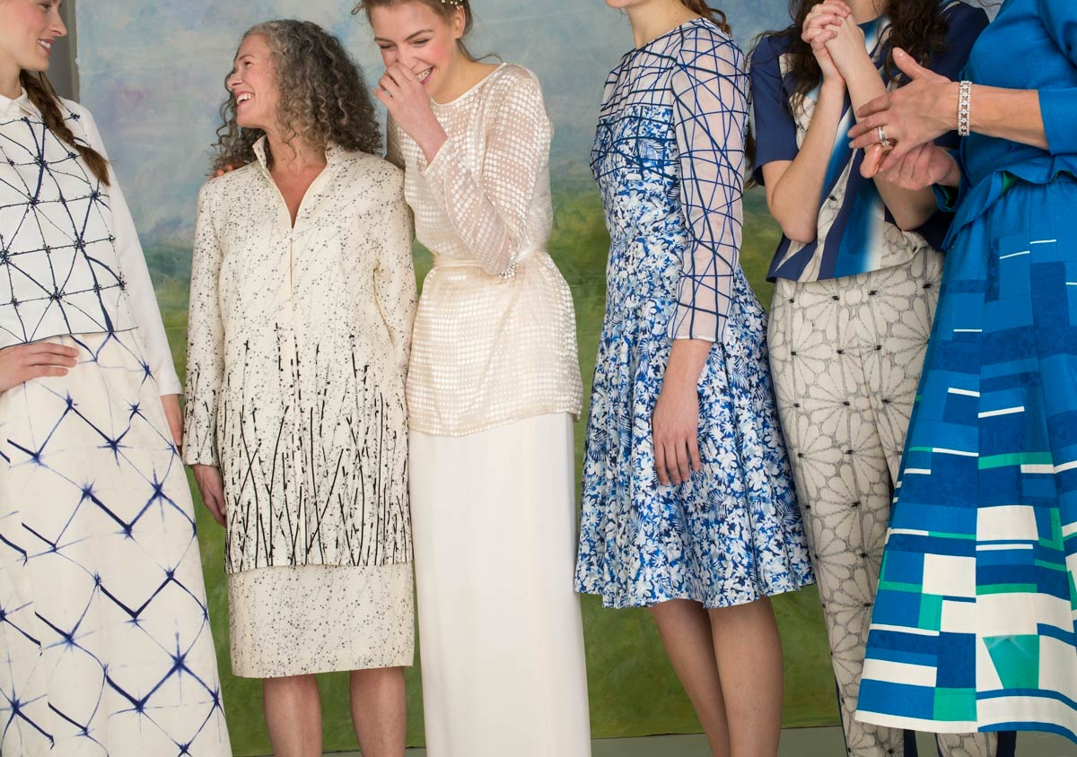 Bride and 5 — Beaded Shibori vest and skirt, Grass and Dew jacket and skirt, White top and Skirt, Blue Dress, Jet Top and Pants, Tundra skirt and jacket | Ann Williamson