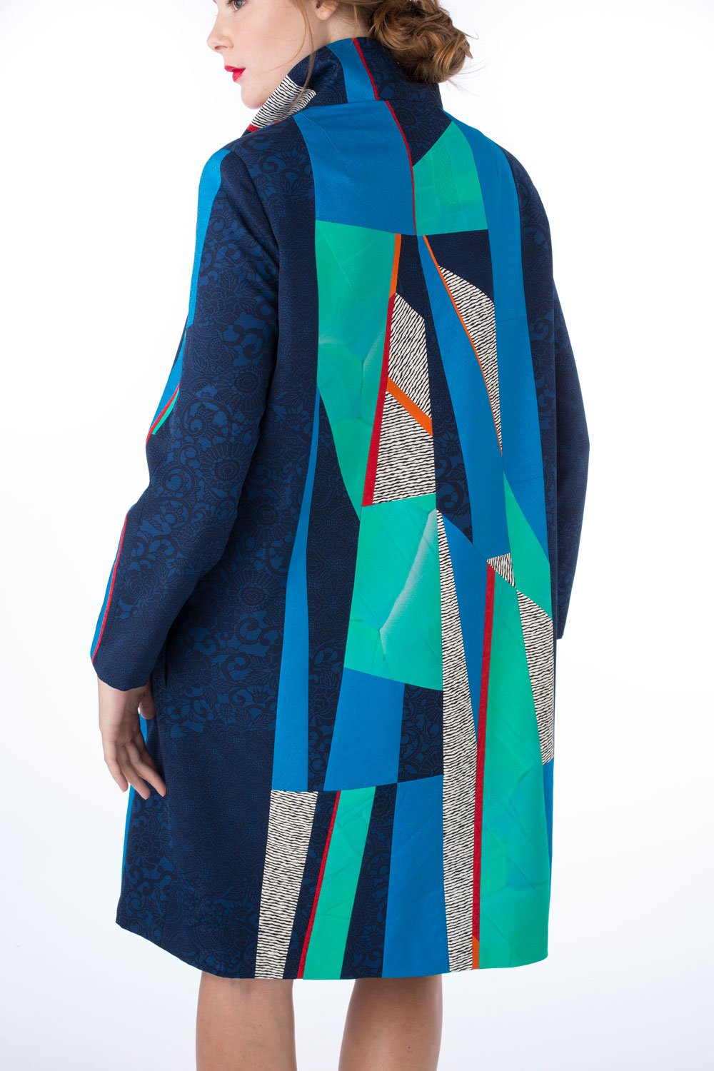 Avenue detail—Coat—Pieced vintage Japanese kimono silk | Ann Williamson Designs