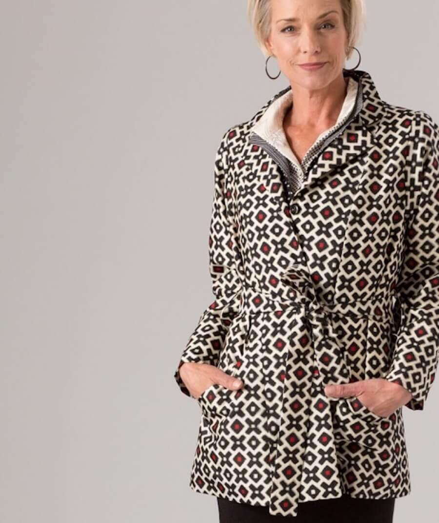 Black and White Grid Trench — Appliquéd vintage kimono silk | Ann Williamson