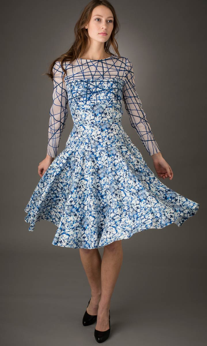 Blue Dress — Print silk dress appliquéd along the sleeves and bodice with narrow bias tubes of silk. | Ann Williamson