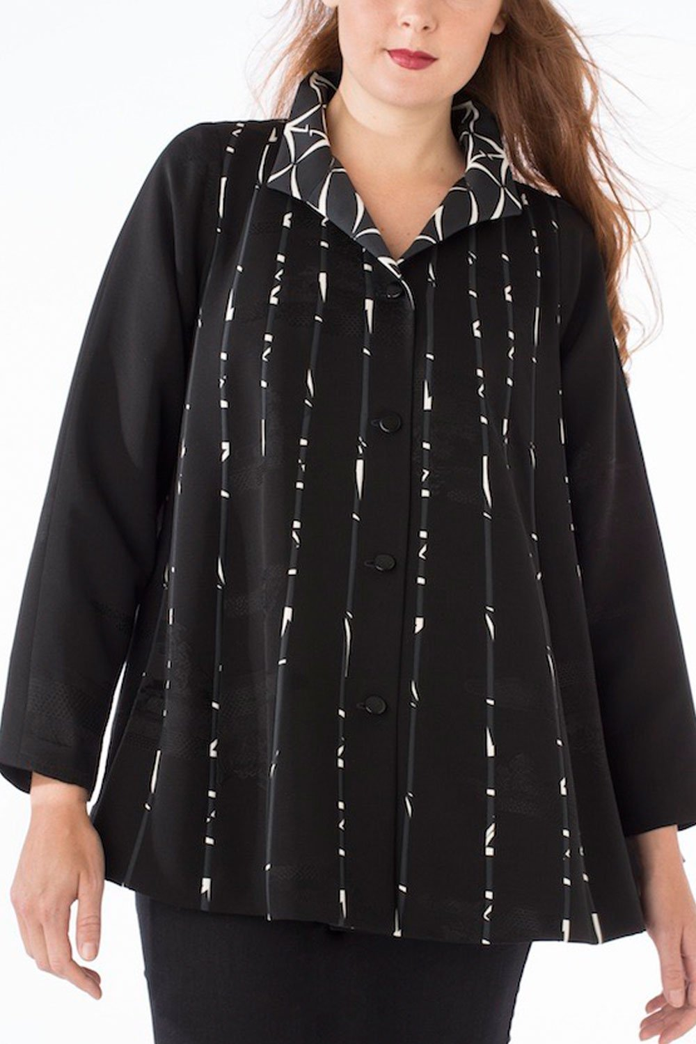 K Swing Coat, black & white | Ann Williamson