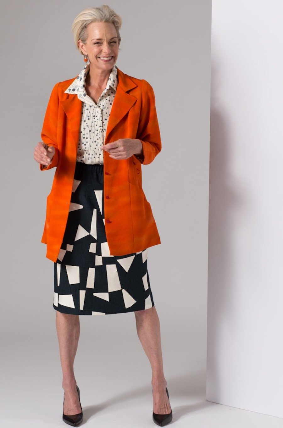 Pieced Skirt, Orange Trench and Short Sleeve Blouse — All Vintage Kimono Silk | Ann Williamson