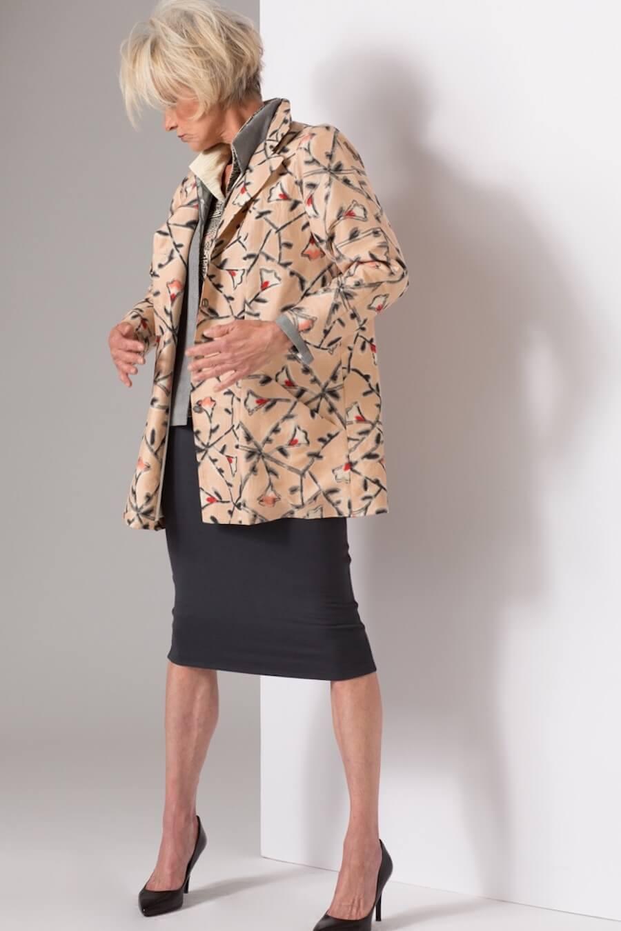 2 Hitoes with Peach Vines Trench — Vintage Kimono Silk | Ann Williamson