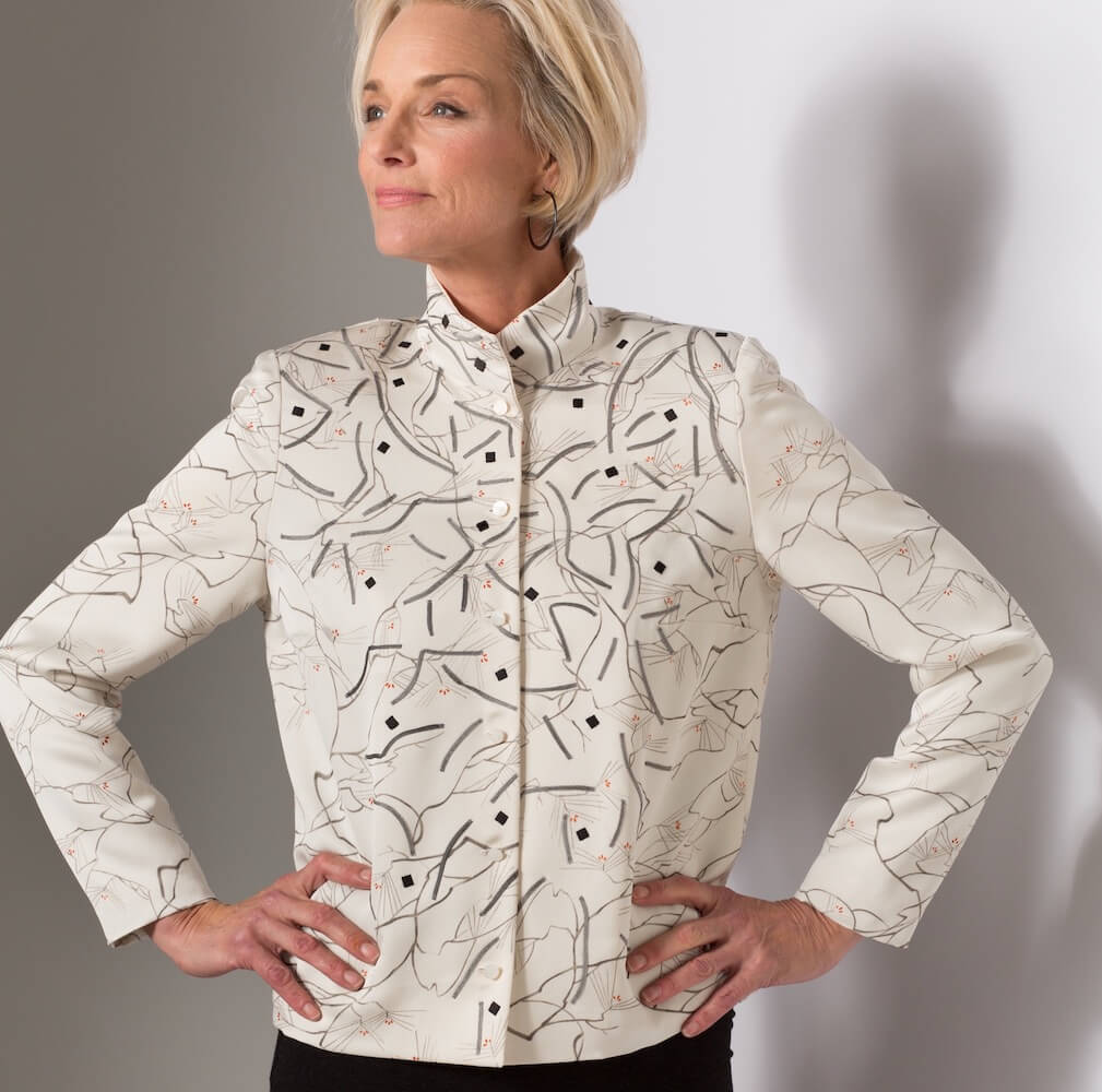 Pines and Dots — Jacket, Appliquéd Vintage Kimono Silk | Ann Williamson