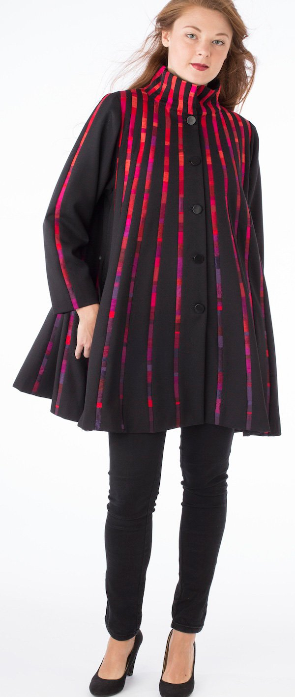 Red Swing Coat—Pieced silk and wool | Ann Williamson
