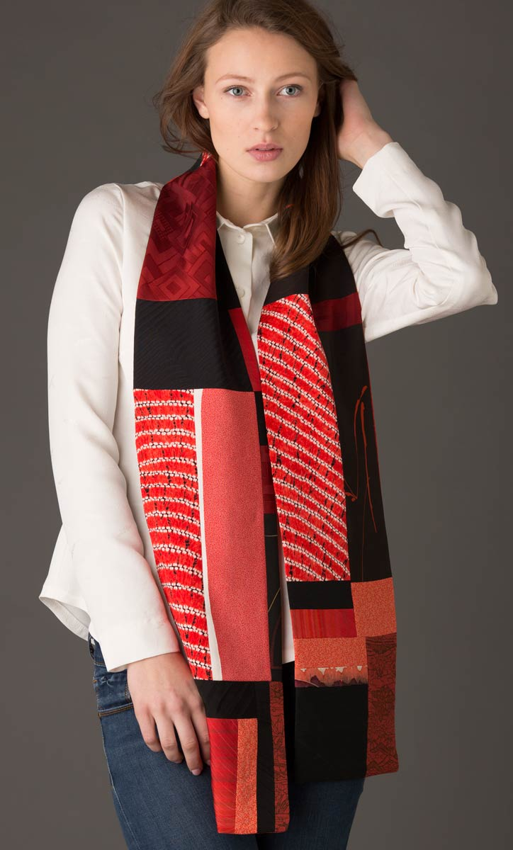 Red and Black Scarf — Pieced vintage Japanese kimono silk. | Ann Williamson