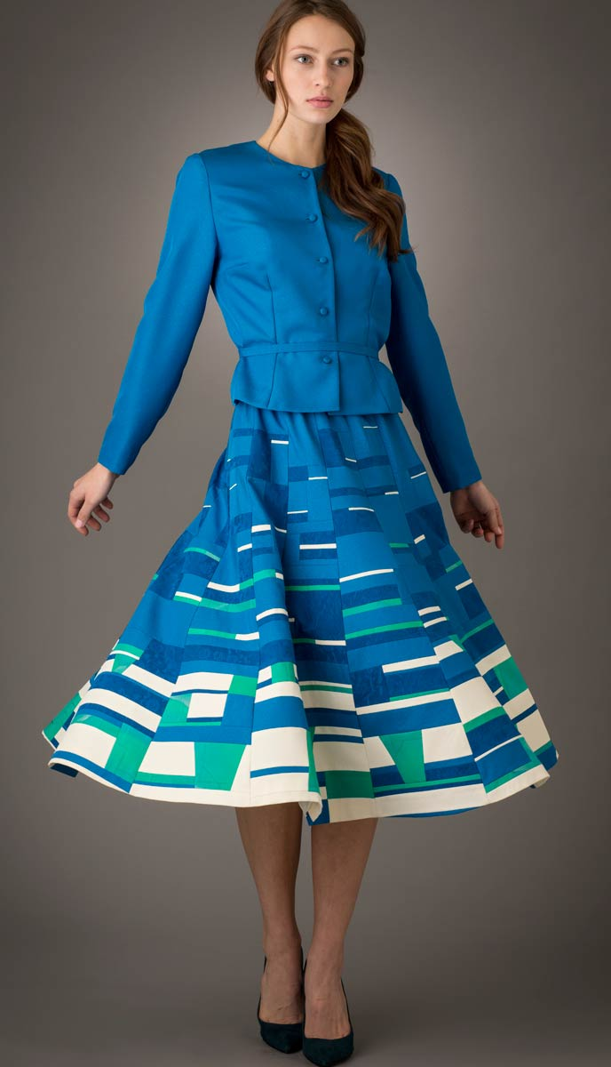 Tundra — Skirt pieced from vintage Japanese kimono silks. Shown with a matching jacket. | Ann Williamson