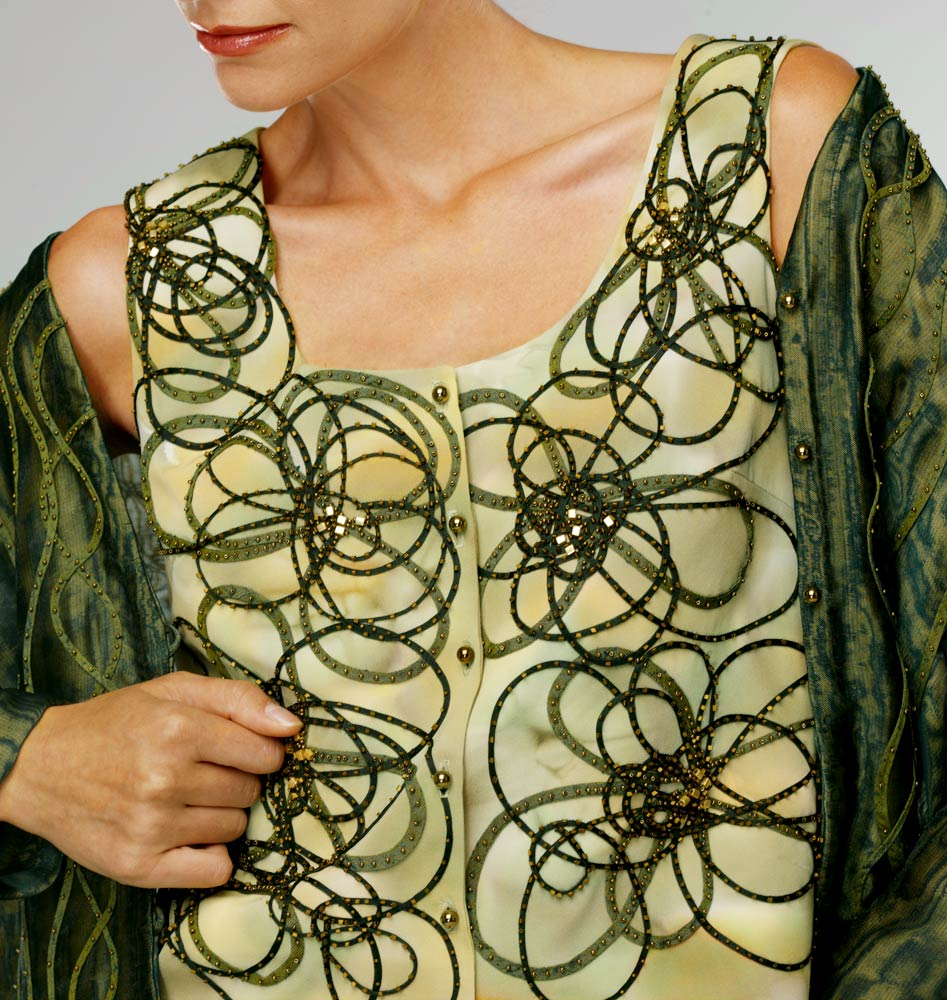 Whorl — Top of silk organza sewn into narrow tubes hand-stitched with glass beads onto a painted silk crepe. | Ann Williamson