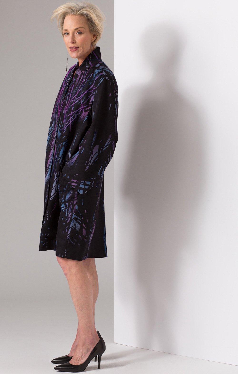 Leaves and Shadows: Appliquéd vintage Japanese kimono silk | Coats | Ann Williamson