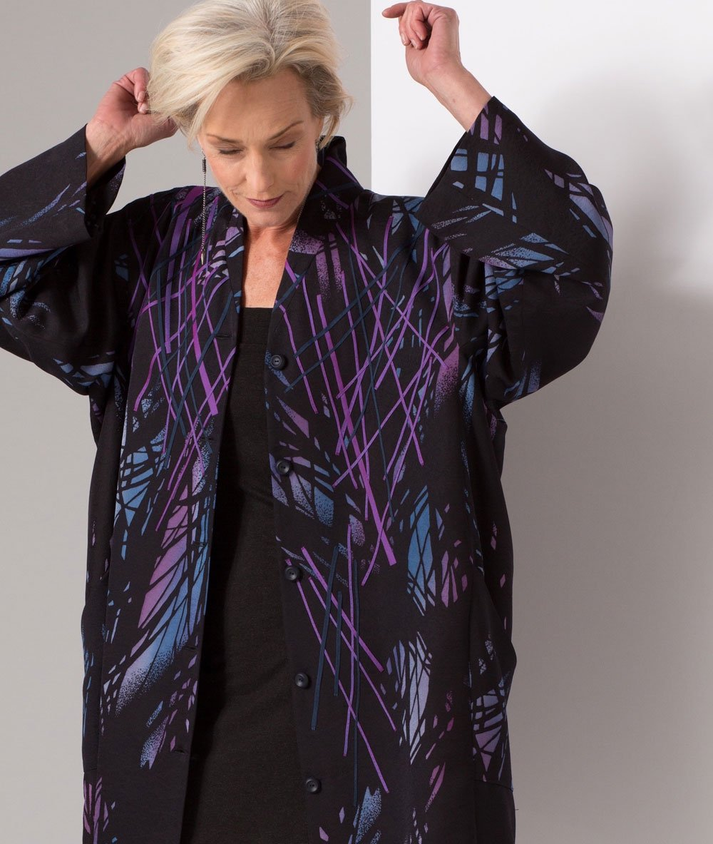 Leaves and Shadows: Appliquéd vintage Japanese kimono silk | Coats | Ann Williamson
