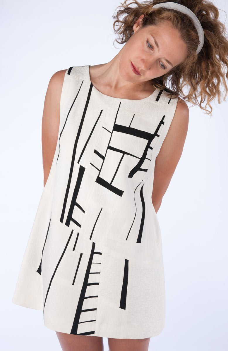 Black and White Dress — Pieced dress from vintage kimono silk. | Ann Williamson