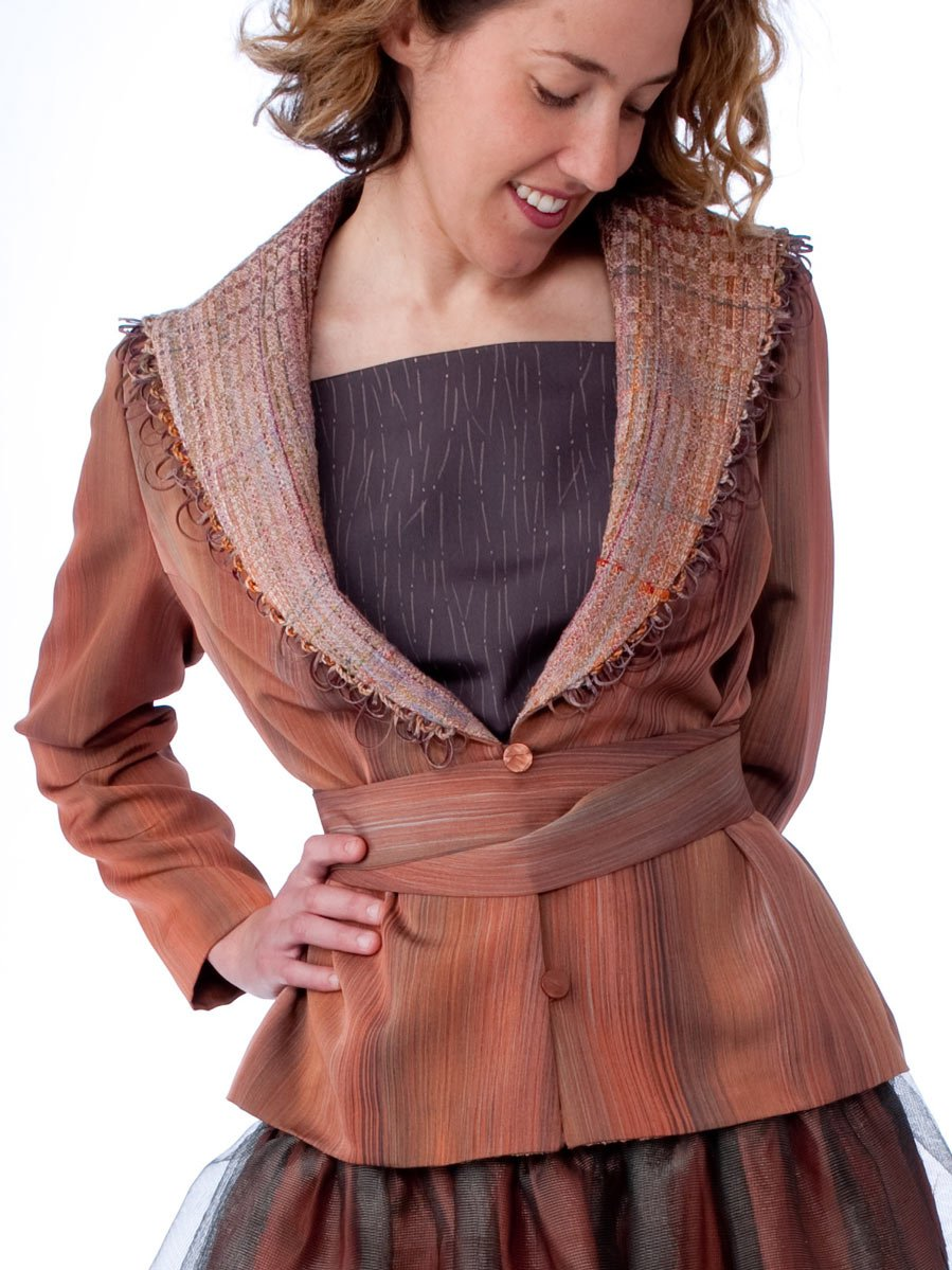 Peach Jacket with Full Collar — Vintage kimono silk jacket with a collar cut from a Randall Darwall scarf. | Ann Williamson