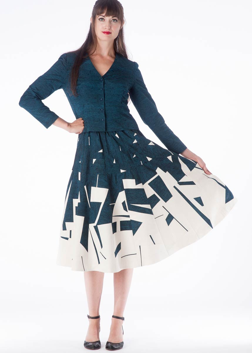 Fragments — Skirt, pieced from vintage kimono silks. Shown with a matching jacket. | Ann Williamson