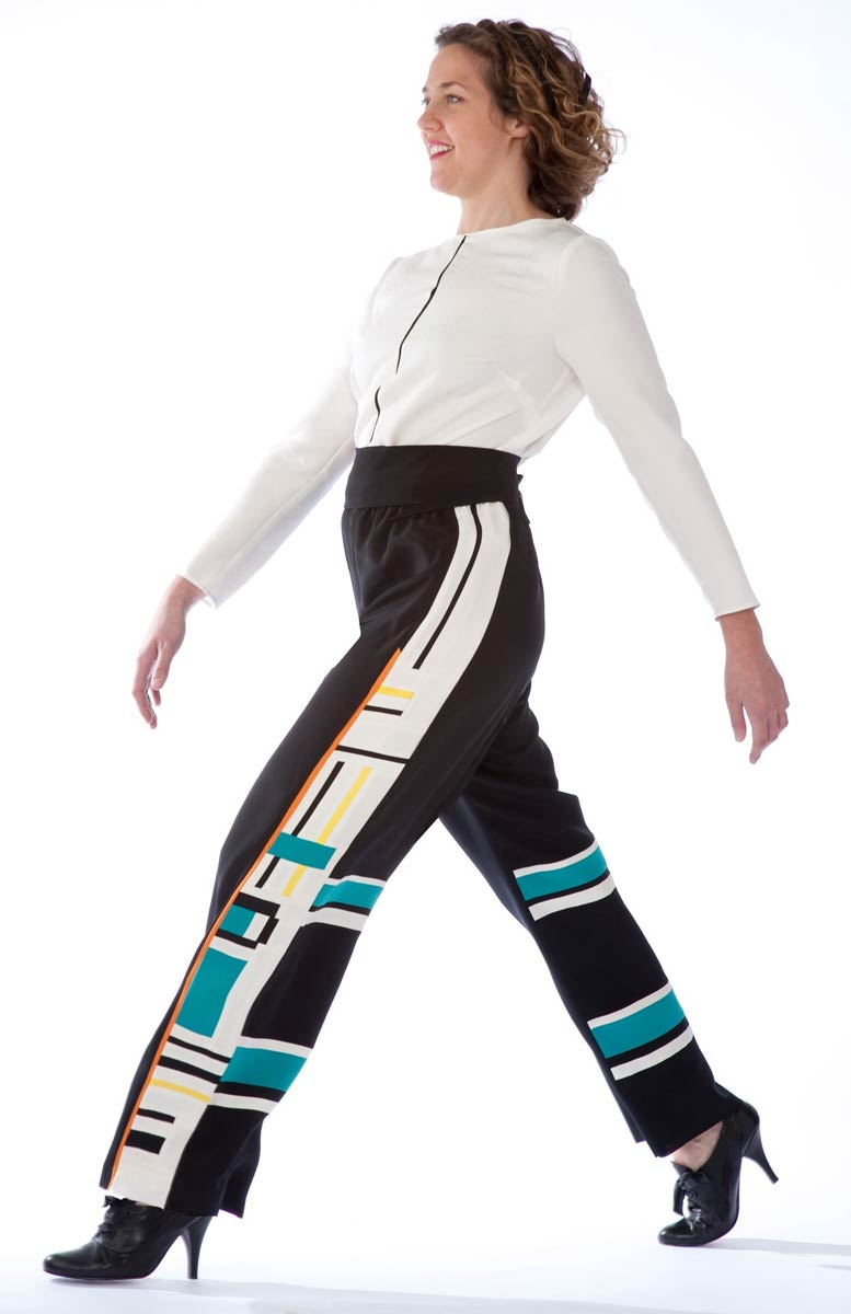 Mondrian Pants — Silk crepe pants, with pieced edge. Shown with Black Stripe kimono silk blouse. | Ann Williamson