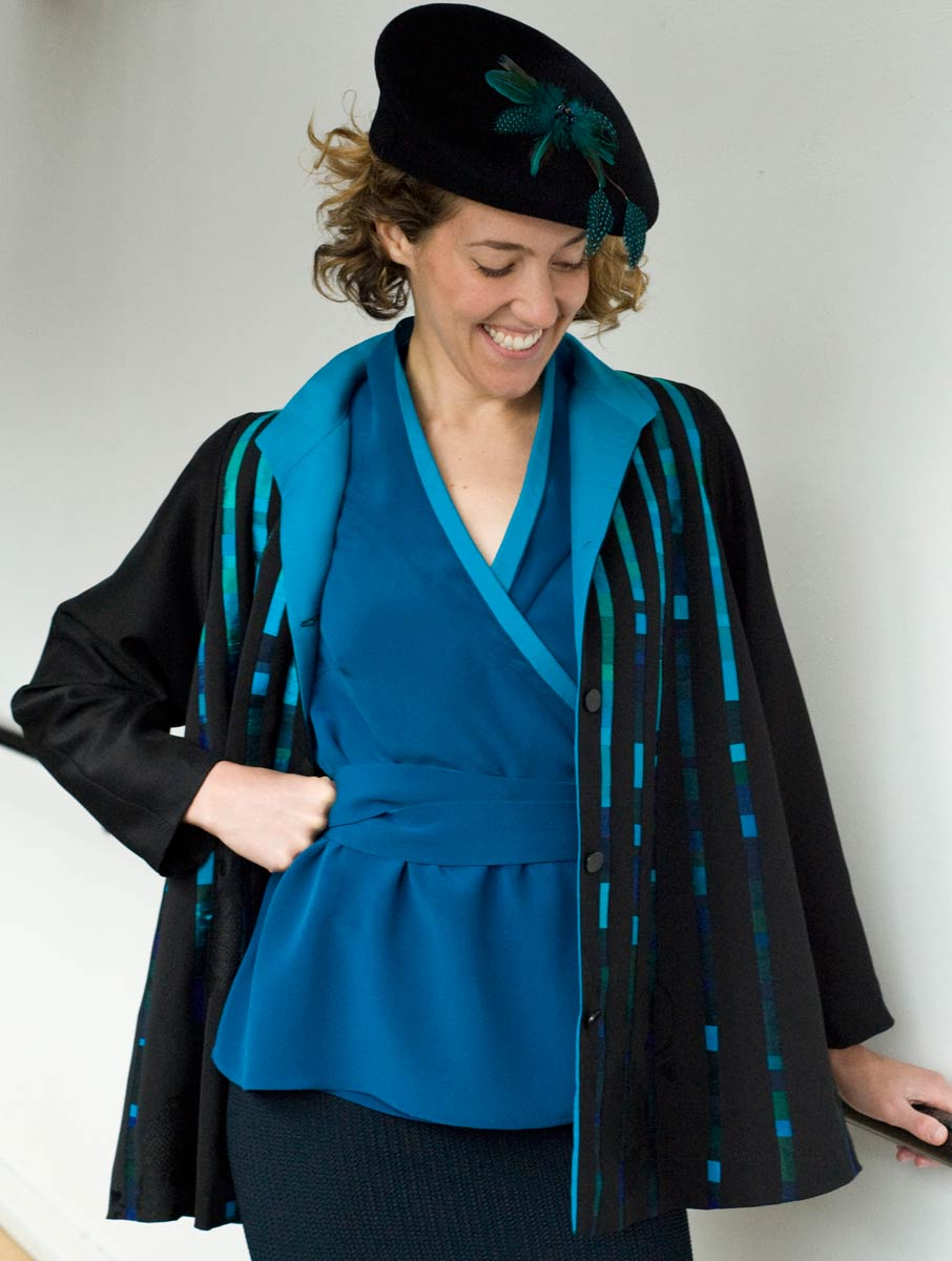 Kimono Swing — Pieced jacket from kimono and other silks. Shown with a wrap silk top and a Dayna Pinkham hat. | Ann Williamson