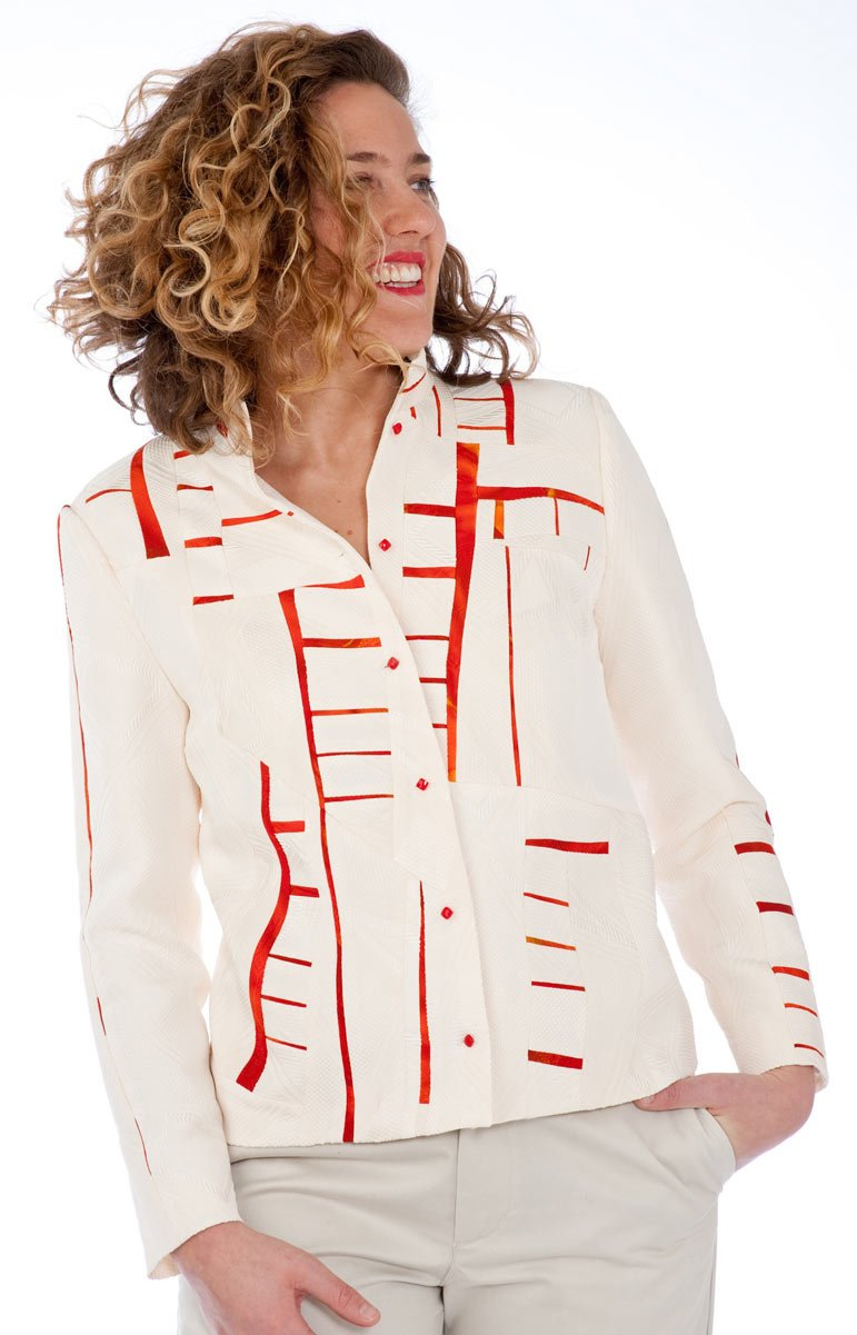 Red and White Jet — Pieced jacket from vintage kimono silk. | Ann Williamson