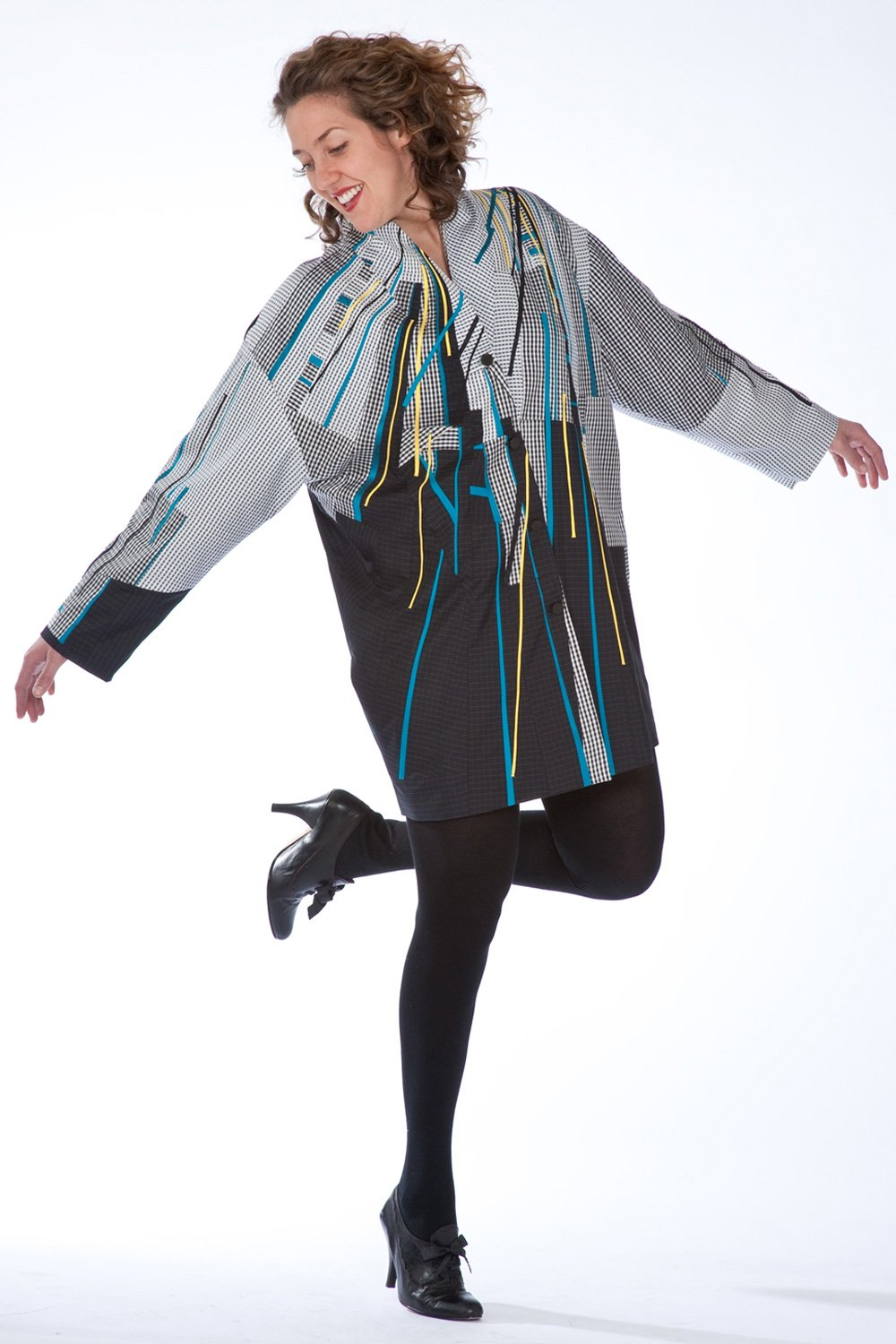 Black and Check, Pieced and hand appliquéd jacket from various silks | Ann Williamson