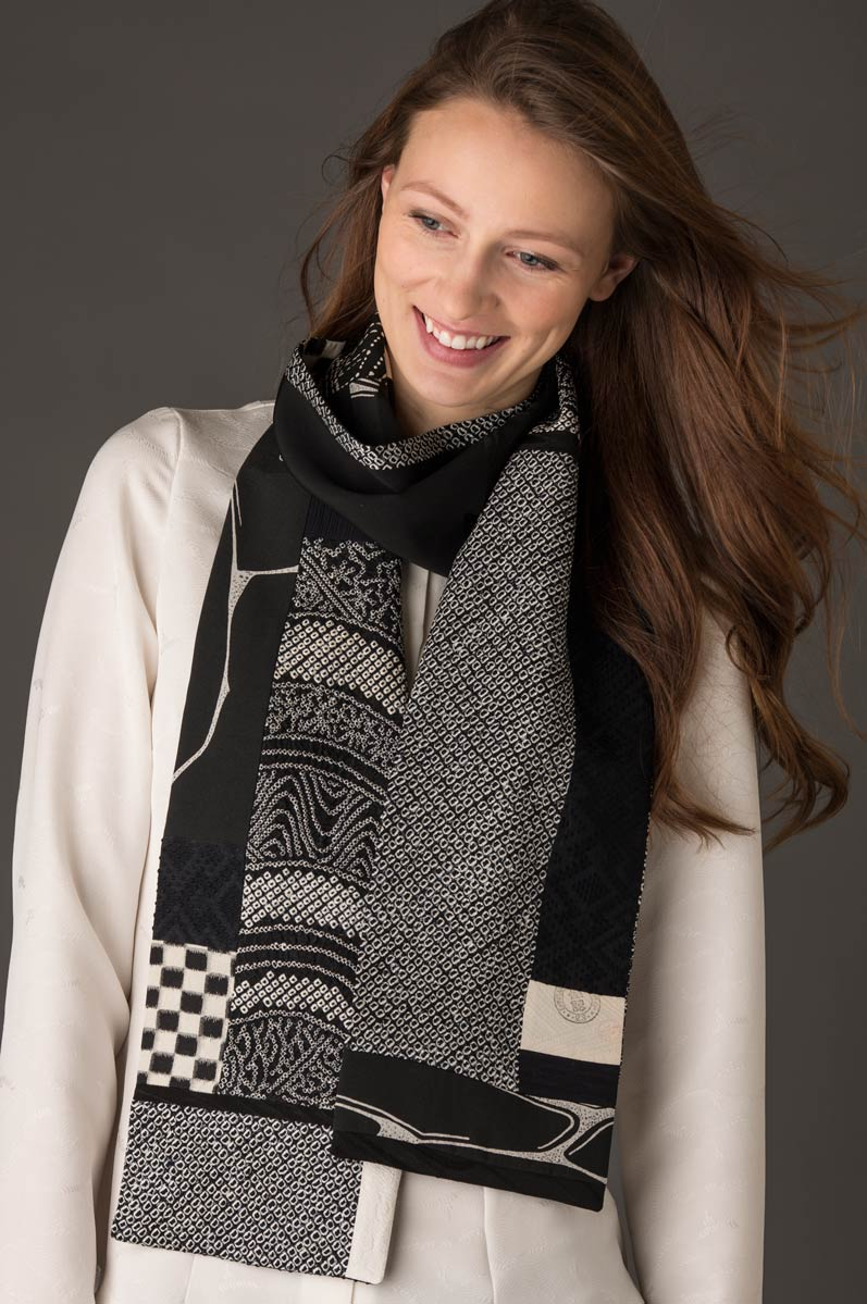 Black and White Scarf — Pieced vintage Japanese kimono silk. | Ann Williamson