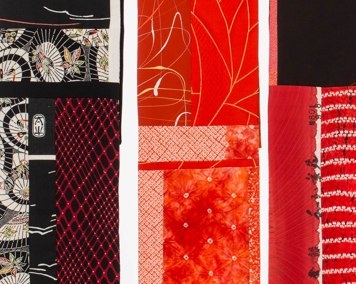 Detail, Black and Red Scarves — Pieced vintage Japanese kimono silk. | Ann Williamson