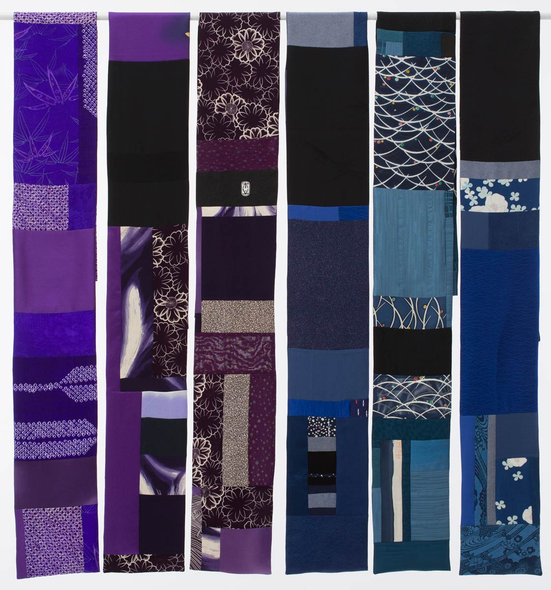 6 Blue and Purple Scarves, Pieced vintage Japanese kimono silk. | Ann Williamson