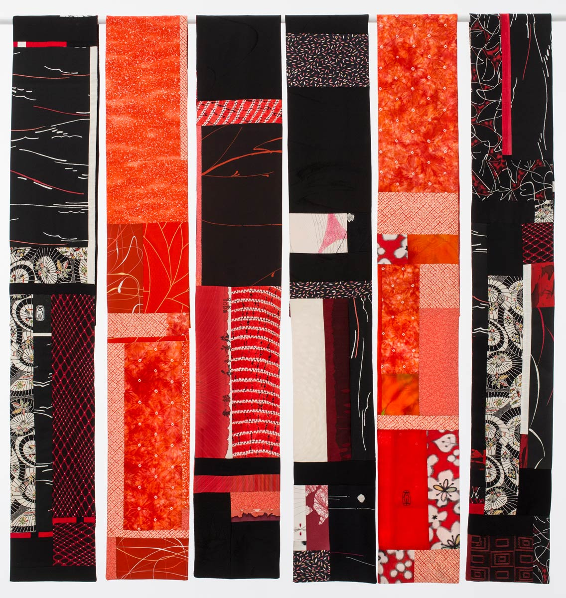 6 Red and Black Scarves — Pieced vintage Japanese kimono silk. | Ann Williamson