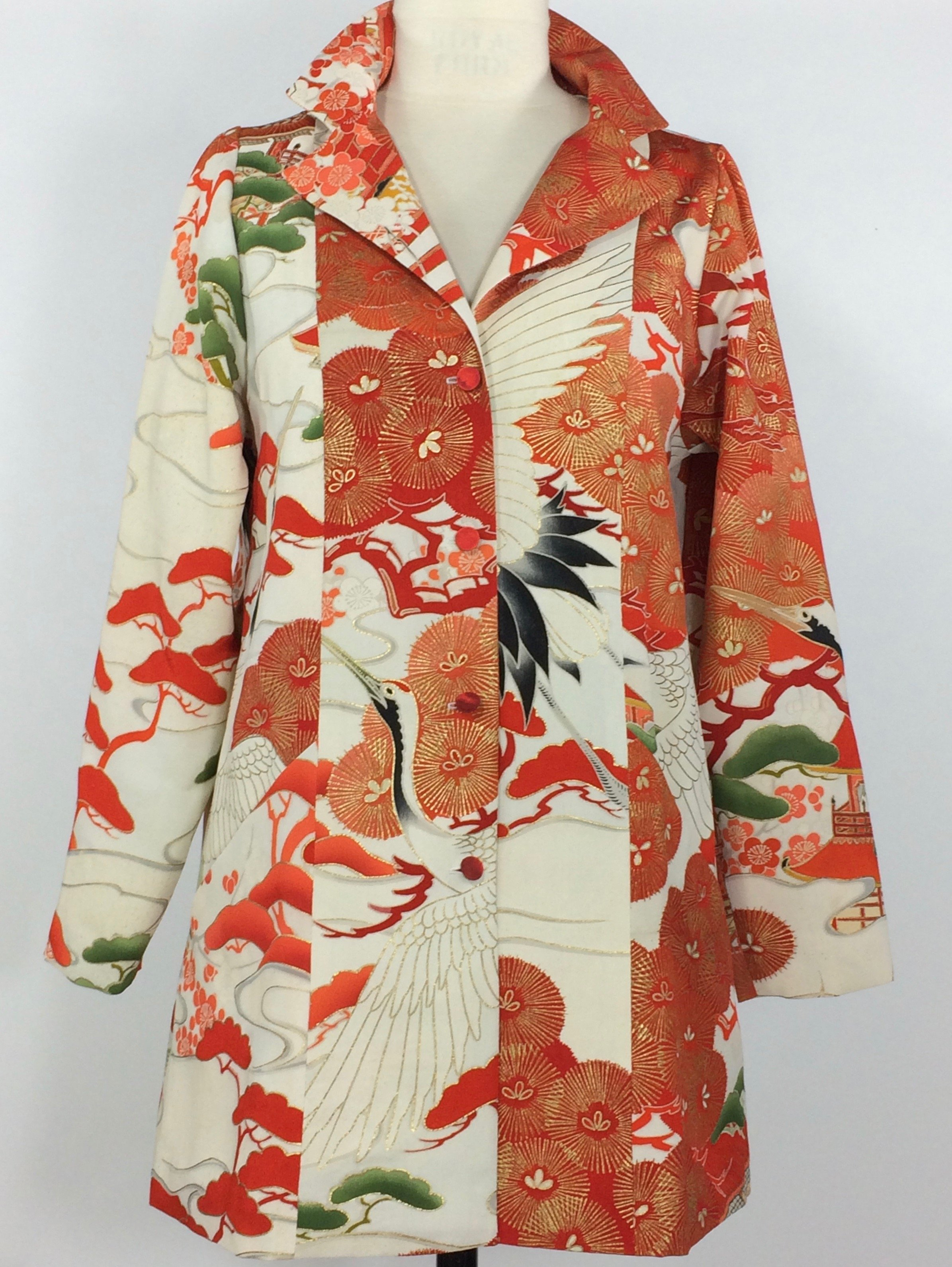 Red and White Crane Trench- Vintage Japanese kimono silk | Ann Williamson